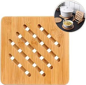 Compra YOFASEN Salvamanteles de Bambú para Sartenes, Ollas - Almohadillas Calientes para Cocinas Caseras Trivet - Protección de Encimera a Prueba de Calor, Cuadrada, 18x18x1CM en Amazon.es