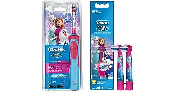 Oral-B Stages Power Advance Power Kids 900 TX - Conjunto de cepillo de dientes eléctrico para niños (incluye 2 cabezales de recambio), diseño de Frozen: ...