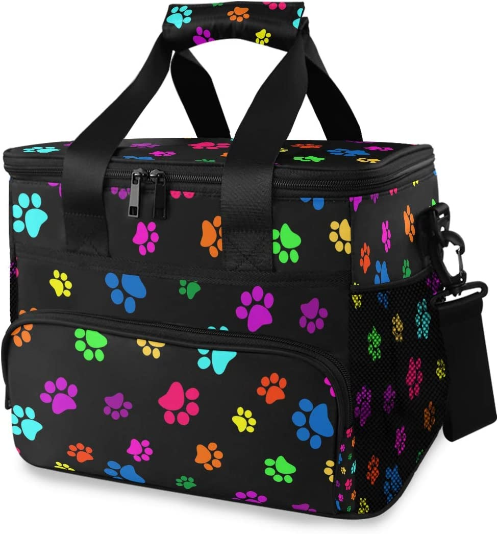 XMCL Picnic Lunch Bag Colorful Animal Dog Cat Paw Print Lunch Cooler Box Insulated Portable Travel Large Picnic Basket Thermal Meal Food Container for Woman Man