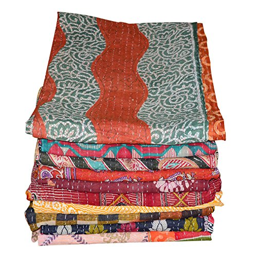 Marudhara Fashion Indian Patch Work Cotton Kantha Quilt Twin Bedspreads Throw Blanket (Twin Multi Floral)