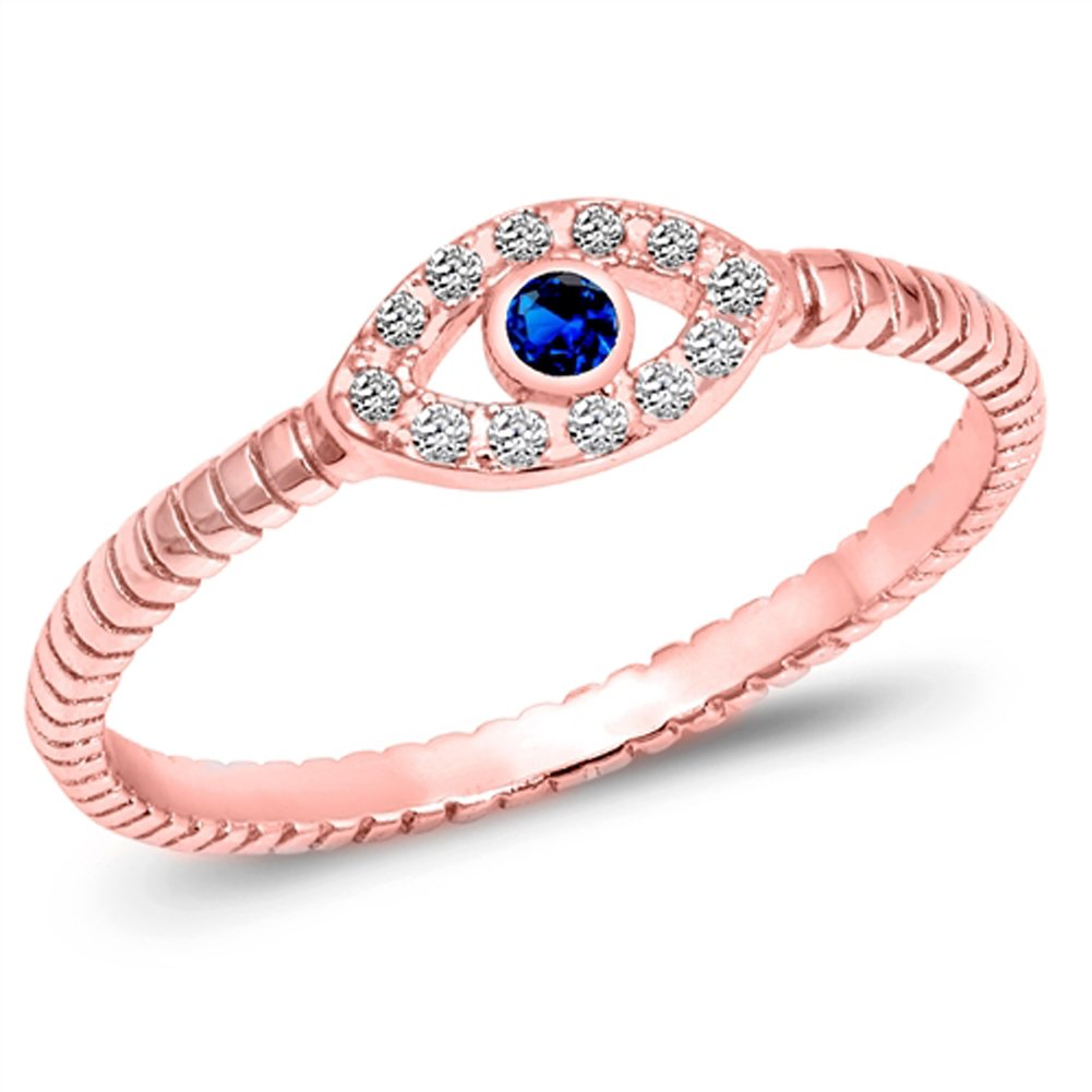 CHOOSE YOUR COLOR Sterling Silver Evil Eye Ring Sac Silver
