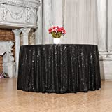 3e Home 96-Inch Round Sequin TableCloth for Party Cake Dessert Table Exhibition Events, Black For Sale