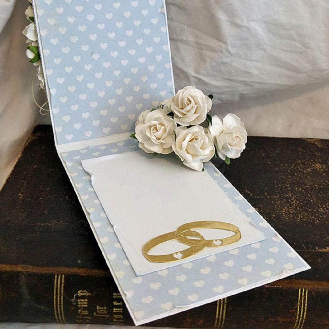 Anneaux de Mariage D/écoupes en M/étal Meurt Bricolage Scrapbooking Cartes de Papier Decor Photo Craft Argent