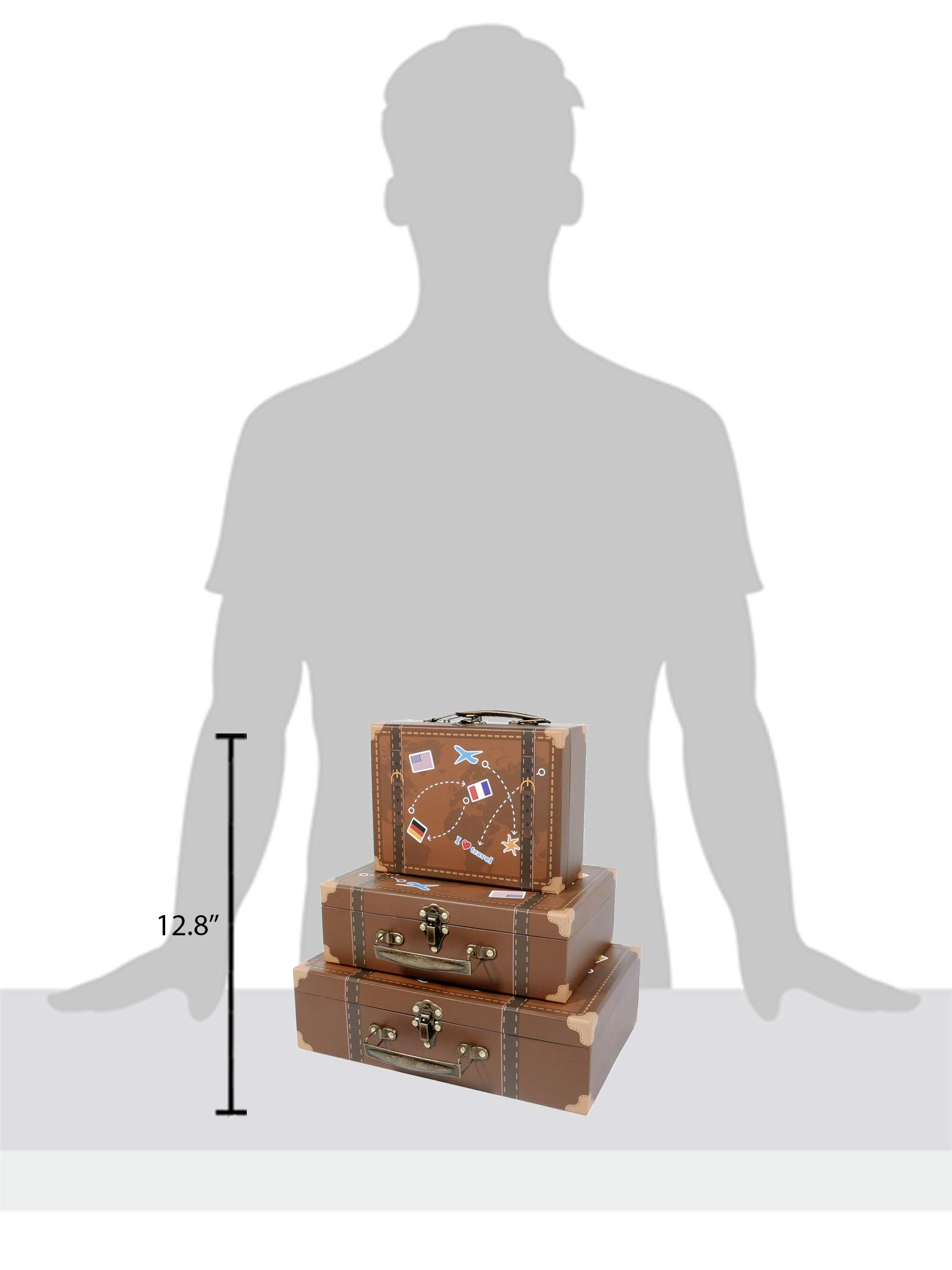 SLPR Paperboard Suitcases (Set of 3, Travel) | Decorative Boxes for Birthday Parties Wedding Decoration Displays Crafts Photo Shoots by SLPR (Image #5)