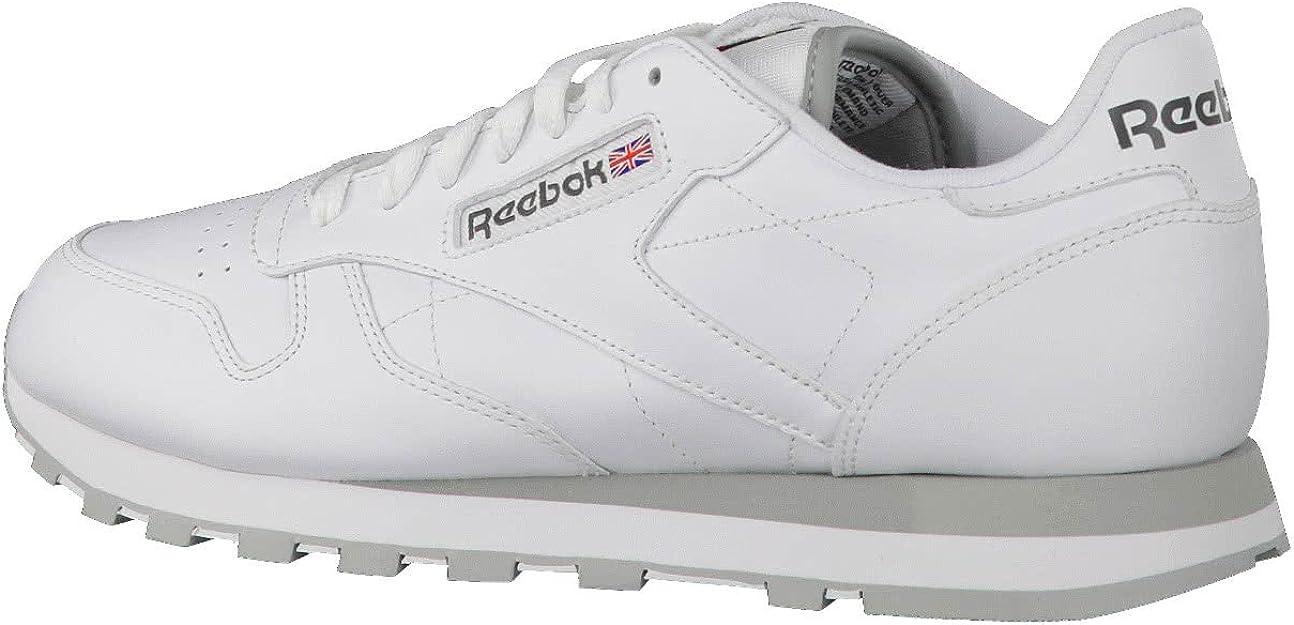Reebok Classic Leather - Zapatillas de cuero para hombre, color blanco (int-white / lt. grey), talla 41: Amazon.es: Deportes y aire libre