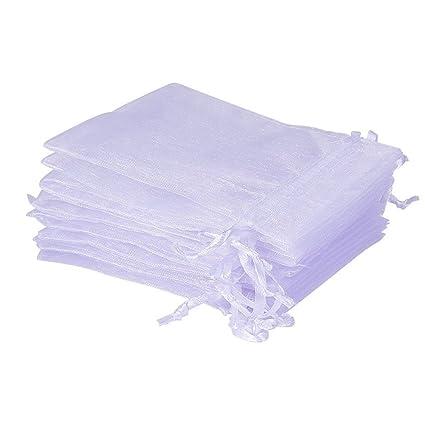 UCLEVER 50 Piezas bolsitas de Organza Bolsas de Tul para Regalos Joyas Bodas Tansparente Blanco 17x23 cm
