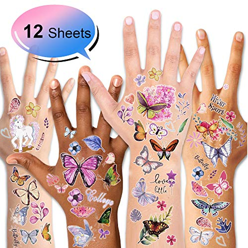Konsait Kids Tattoos Butterfly Temporary Tattoos Sticker for Girls Children's Birthday Party Bag Filler Gift Idea Party Favors, 12 Sheets, 100+ Kids Unicorn Butterfly Flower Girls Tattoos