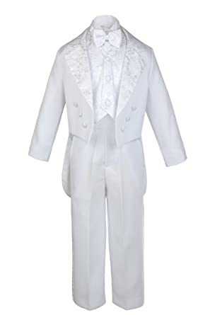 480183fff Unotux Boys Christening Baptism Suits Tuxedo White Tail Maria Virgin Mary  S-14 (S