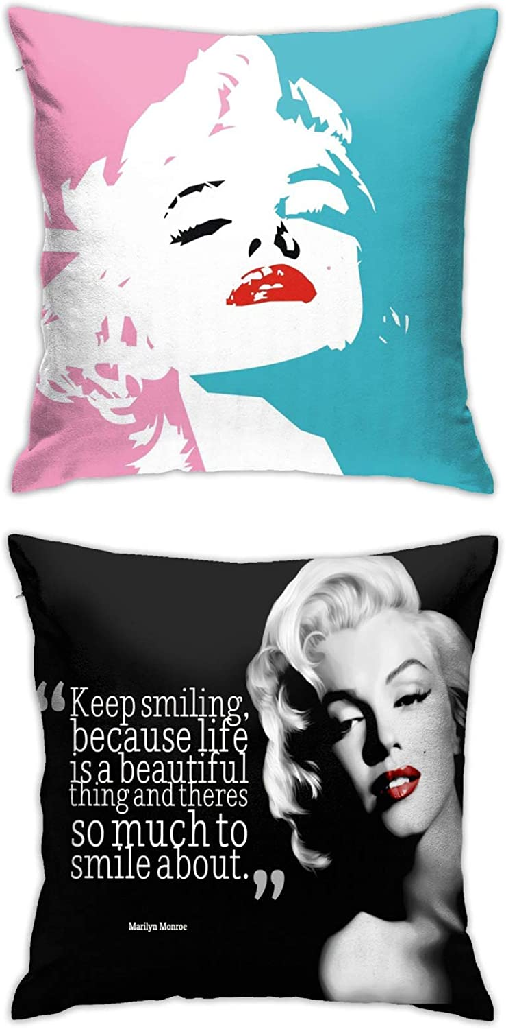 Marilyn Monroe Throw Pillow Covers Set Cushion Case for Sofa Bedroom Car and Home Decor 18 X 18 Inch 2pcs