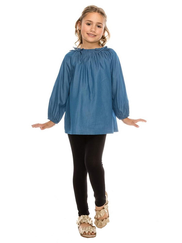 Aaron /& Amber Little Girls Blue Denim Gathered Neck Long Sleeve Shirt 2T-5