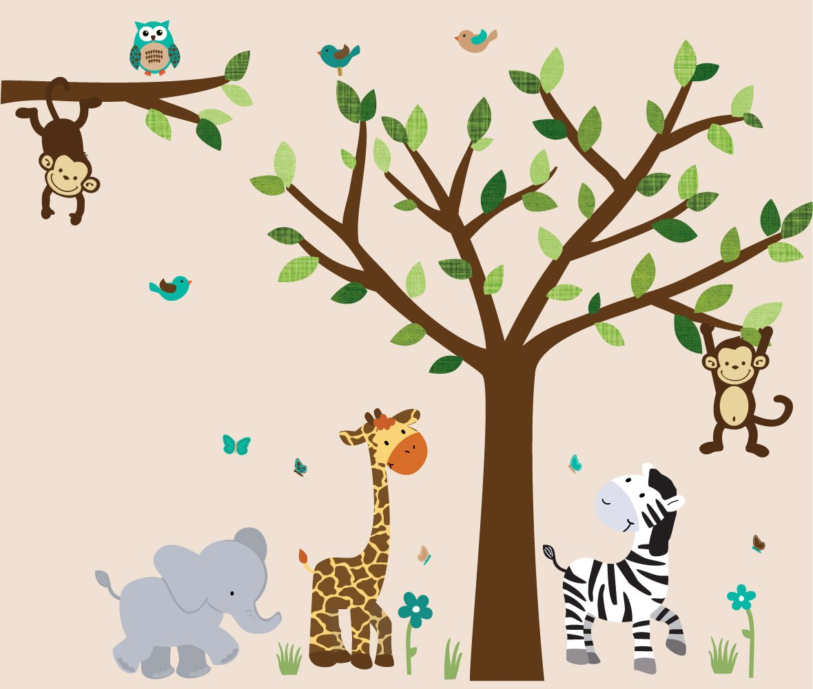Safari Evergreen Jungle Tree Wall Decals, Jungle Stickers with Green Leaves and Vinyl Tree by Nursery Decals and More