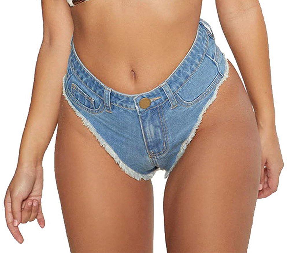 Baby bluee Oflive Women's Sexy Lace Up Hole Denim Shorts Mini Hot Shorts M3XL