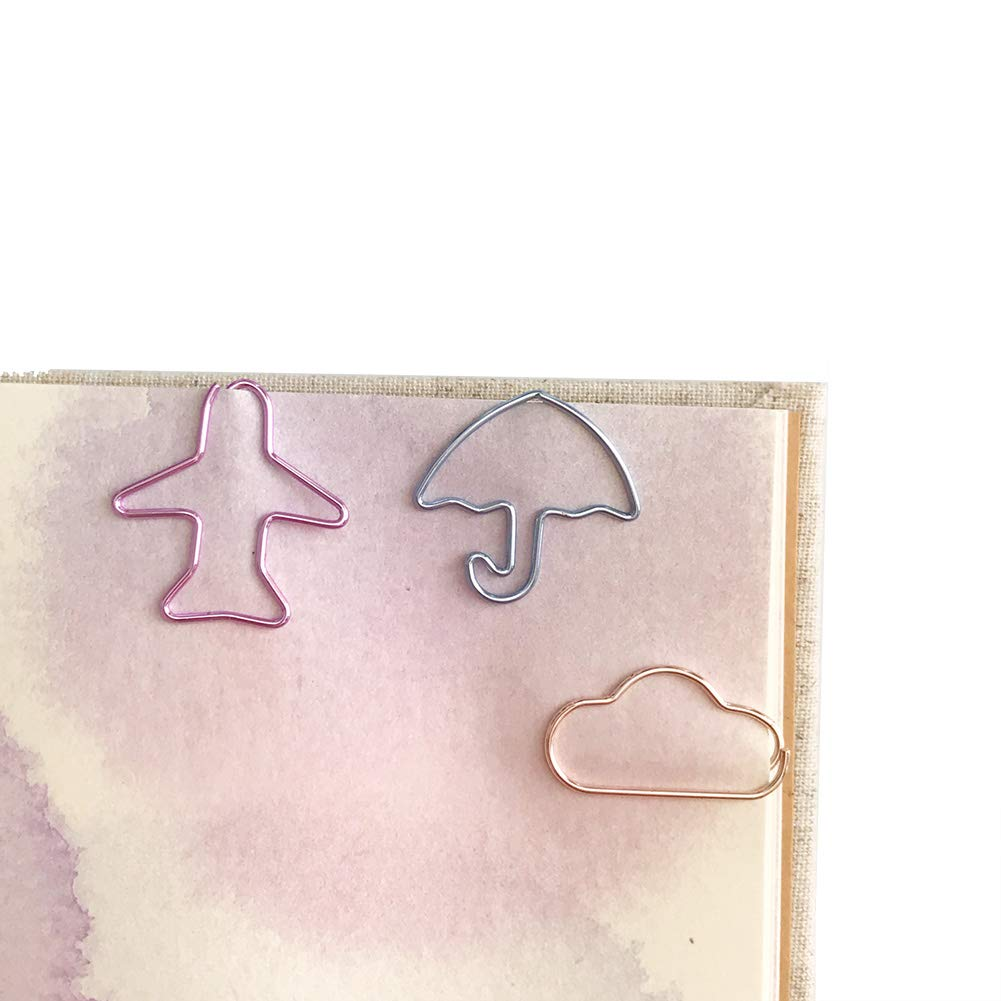 Siixu Fun Paper Clips, Unique Themed Paper Clips for Bookmark, Office, School, Notebook, 30 Pieces (Airplane, Cloud, Umbrella)