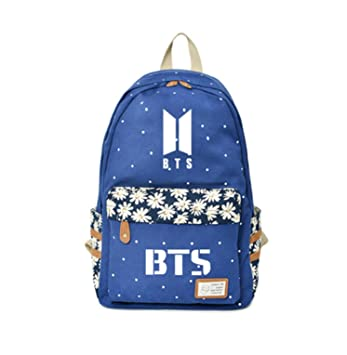 Amazon.com: 2018 Kpop BTS Backpack Flower Wave Point Rucksacks Girls Women Rugtas Mochila Bangtan Boy Wings Travel Shoulder Bag for ARMY (17): OOHPA