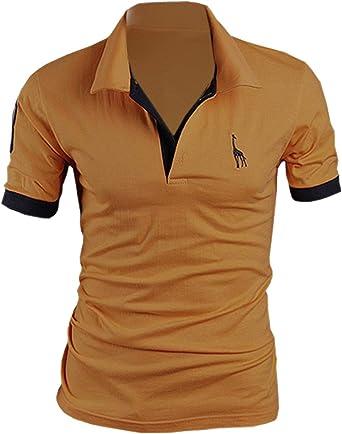 SOMTHRON Hombre Camisas de Polo de Manga Corta de algodón más el ...
