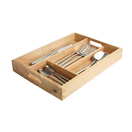 T G Woodware Cutlery Tray In Hevea Wood With Cork Base Amazon Co Uk