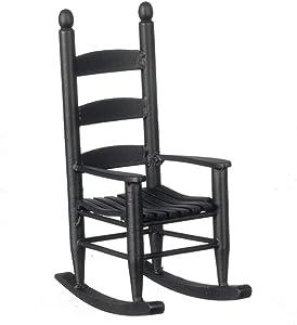 Handley House Dollhouse Miniature Ladder Back Rocking Chair (Black)