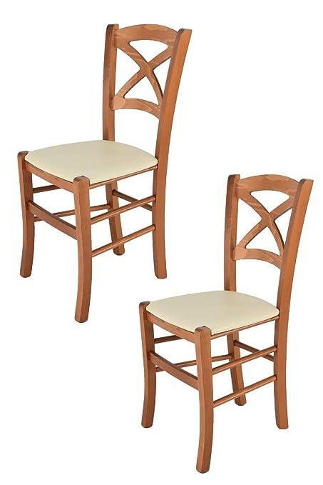 Tommychairs - Juego de 2 sillas clásicas Cross para Cocina Barra y Comedor con Estructura de Madera de Haya Pintada Color Cereza y Asiento Acolchado y ...