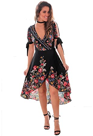 6d7a152676 Eleter Bohemian Floral Print V Neck Tunic Irregular Hem Chiffon Midi Dress  (S