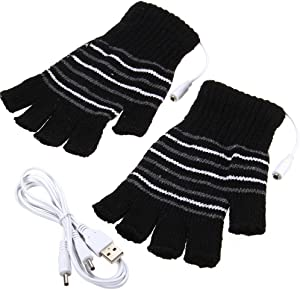 Black USB Powered Stripes Pattern Knitting Wool Heating Heated Gloves Fingerless Hand Warmer Mittens Laptop Computer Gloves