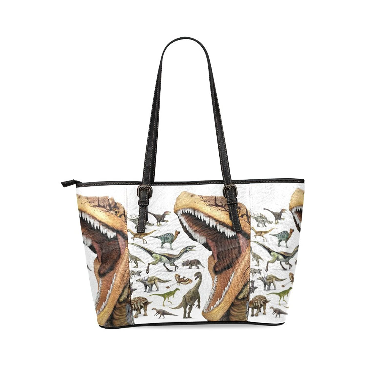 Dinosaur Custom PU Leather Large Tote Bag/Handbag/Shoulder Bag for Fashion Women /Girls