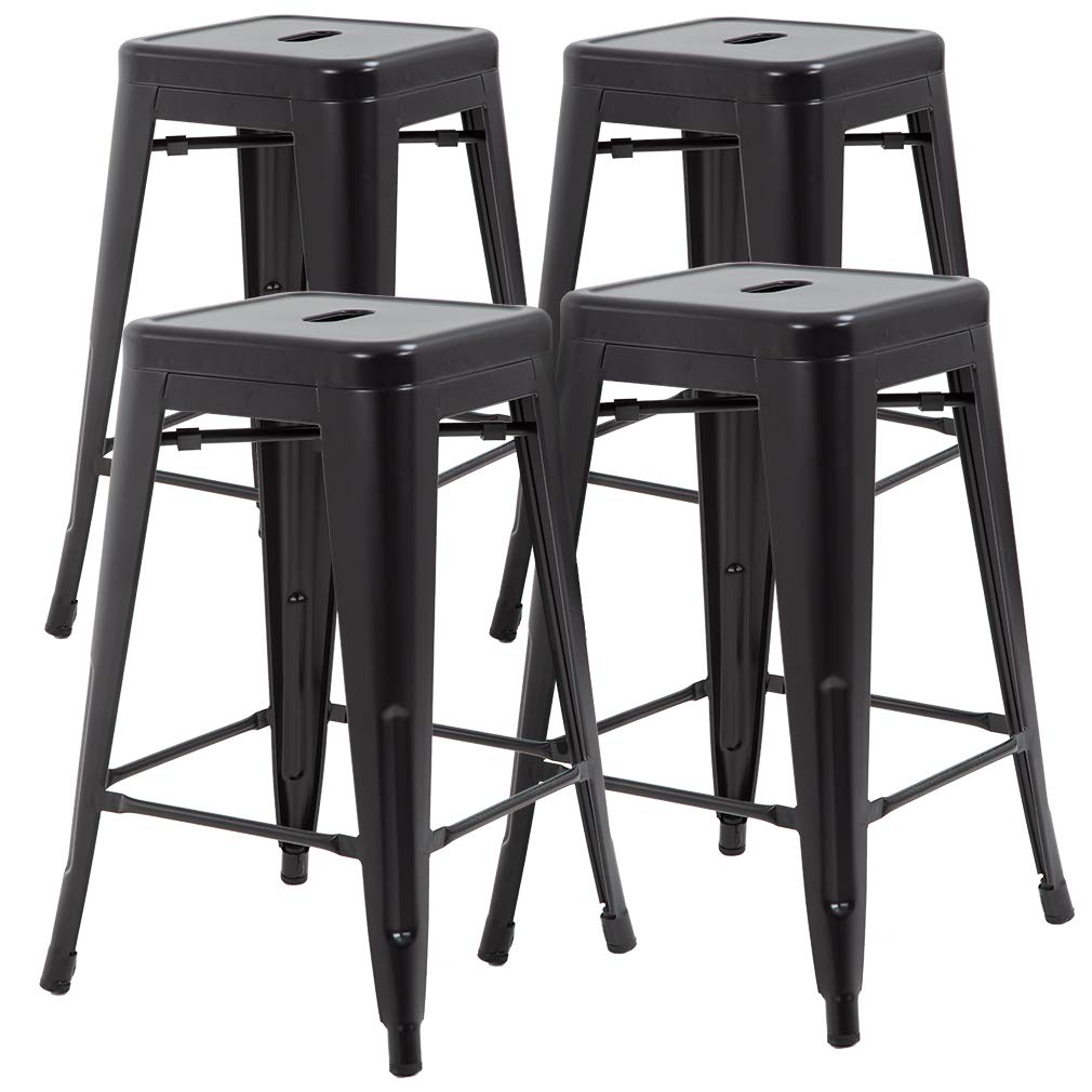 FDW Metal Stools Bar Stools 24 Inch Counter Height Stackable Barstools Indoor Outdoor Patio Furniture Dining Backless Kitchen Bar Stools Set of 4 by FDW