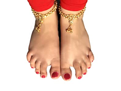 3c38d0f2b74f98 Image Unavailable. Image not available for. Colour: Womensky Traditional  Kundan Pearls Stone Gold Plated Anklet ...