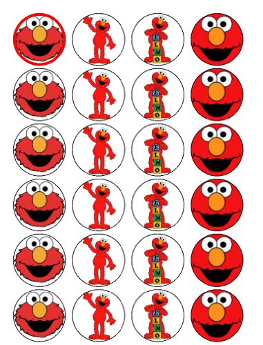 24 Elmo Cupcake Toppers