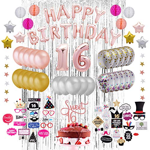 73-Piece Sweet 16 Party Decoration Kit | 16th Birthday Decorations Party Supplies| Tri- Color Balloons |16 Cake Topper Rose Gold| Silver Metallic Tinsel Foil | Sweet 16 Photo Booth Props| Premium Sweet Sixteen Decorations -