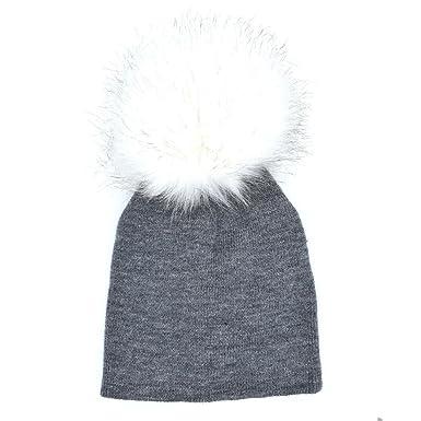 bonnet à pompons bébé enfants chapeau Unisexe Garçon Fille Longra  Élasticité Couleur unie chapeaux Hiver Doux 0d415ab4e2a