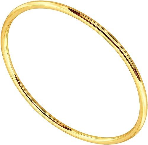 Italien 14k or Jaune Poli à facettes design Creux Ovale Bracelet Jonc
