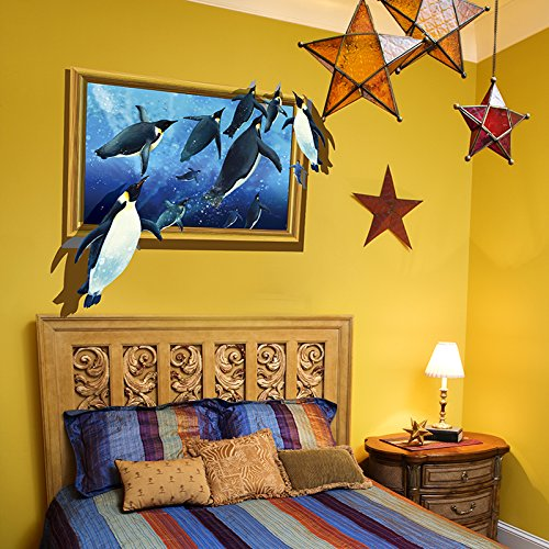(SWORNA Animal Series 3D Penguin in Blue Sea Removable Vinyl DIY Wall Mural Decal Stickers for Kids/Baby/Children¡¯s Bedroom Playroom Living Room Kids Nursery Kindergarten Classroom Hallway 25