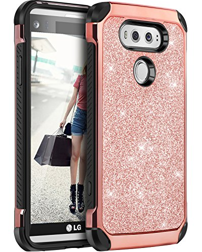 LG V20 Case, BENTOBEN Glitter Bling Luxury 2 in 1 Hybrid Ultra Slim Hard Laminated with Sparkly Shiny Faux Leather Chrome Shockproof Protective Case for LG V20, Rose Gold