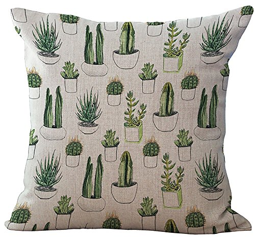 Crazy Cart Cotton Linen Square Decorative Throw Pillow Cover Cactus Painting Home Decorative Pillowcase Cushion Cover 18*18 inch