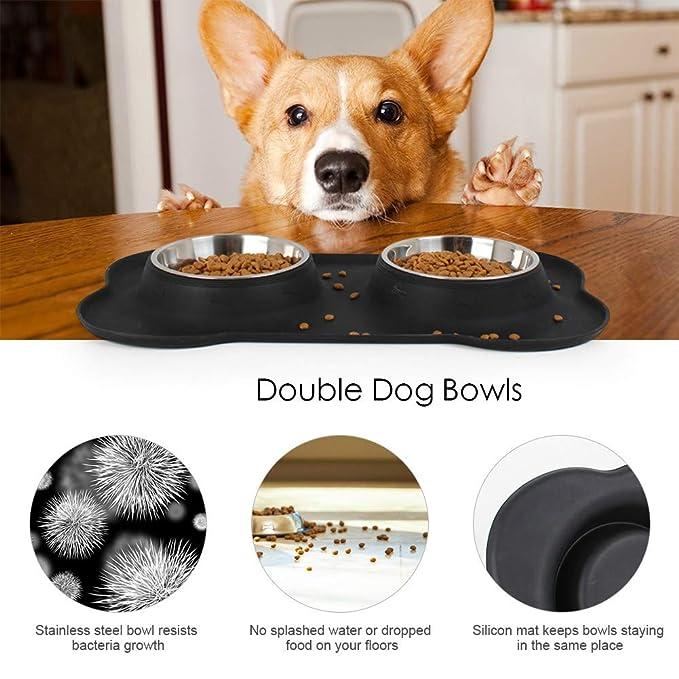 InnoGear Tazones para perros con bandeja de silicona sin derrames Tazones de acero inoxidable doble
