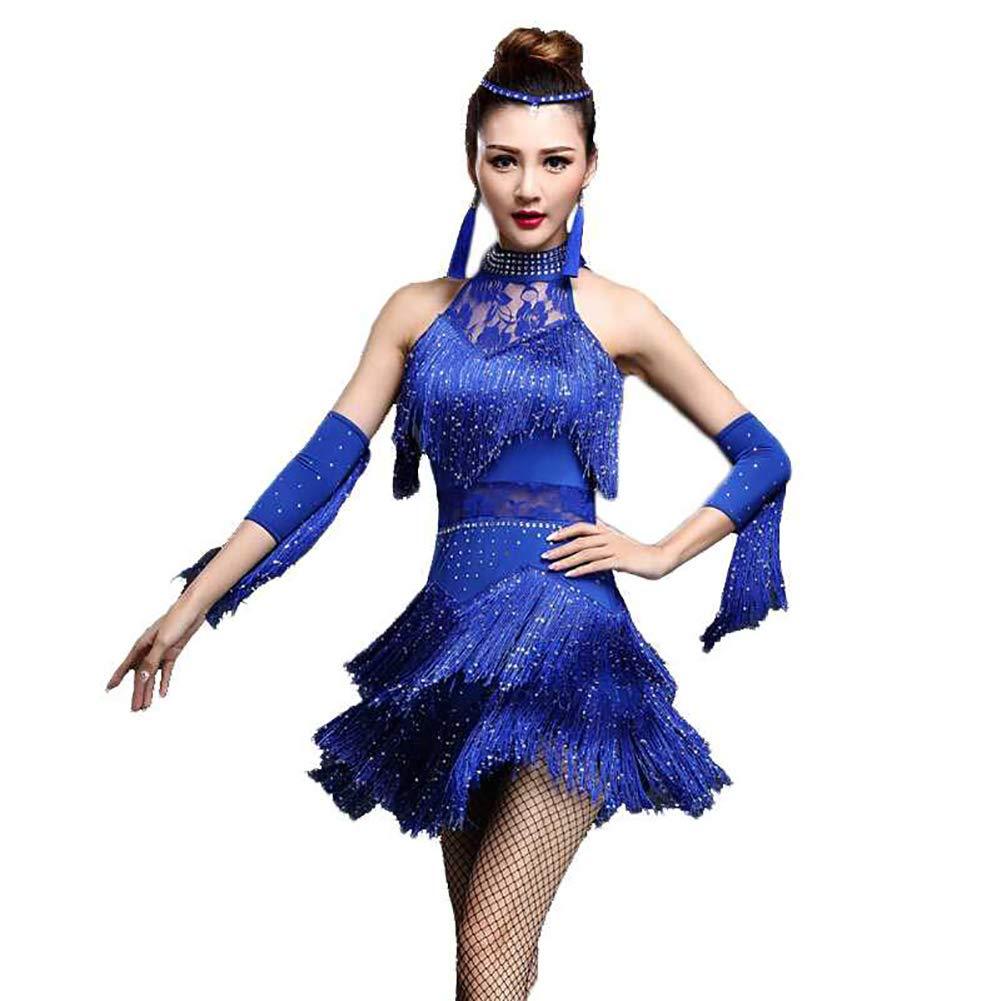 bleu L XHTW&B Femmes Latin Danse Les Costumes Adulte Paillette Gland Jupe Les Robes Flexible étape élégant Fête Concurrence Robe