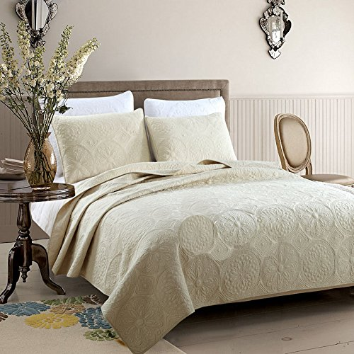 Brandream Beige Vintage Floral Embroidery Comforter Set King Size Bed Quilt Set