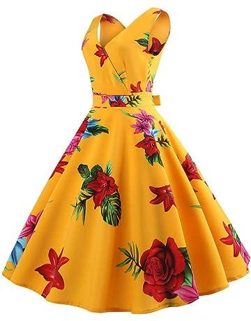 Vestido Largo Vintage Floral Print Dobladillo Grande Elegante Yesmile ❤ Mujer Sin Mangas Estampado Floral