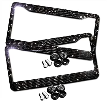 White LEIWOOR 2 Pack Glass Diamond Car License Plate Frame Handcrafted Bling Rhinestone Premium Stainless Steel License Plate Frame with Finest 14 Facets SS20 Clear Color Rhinestone Crystal