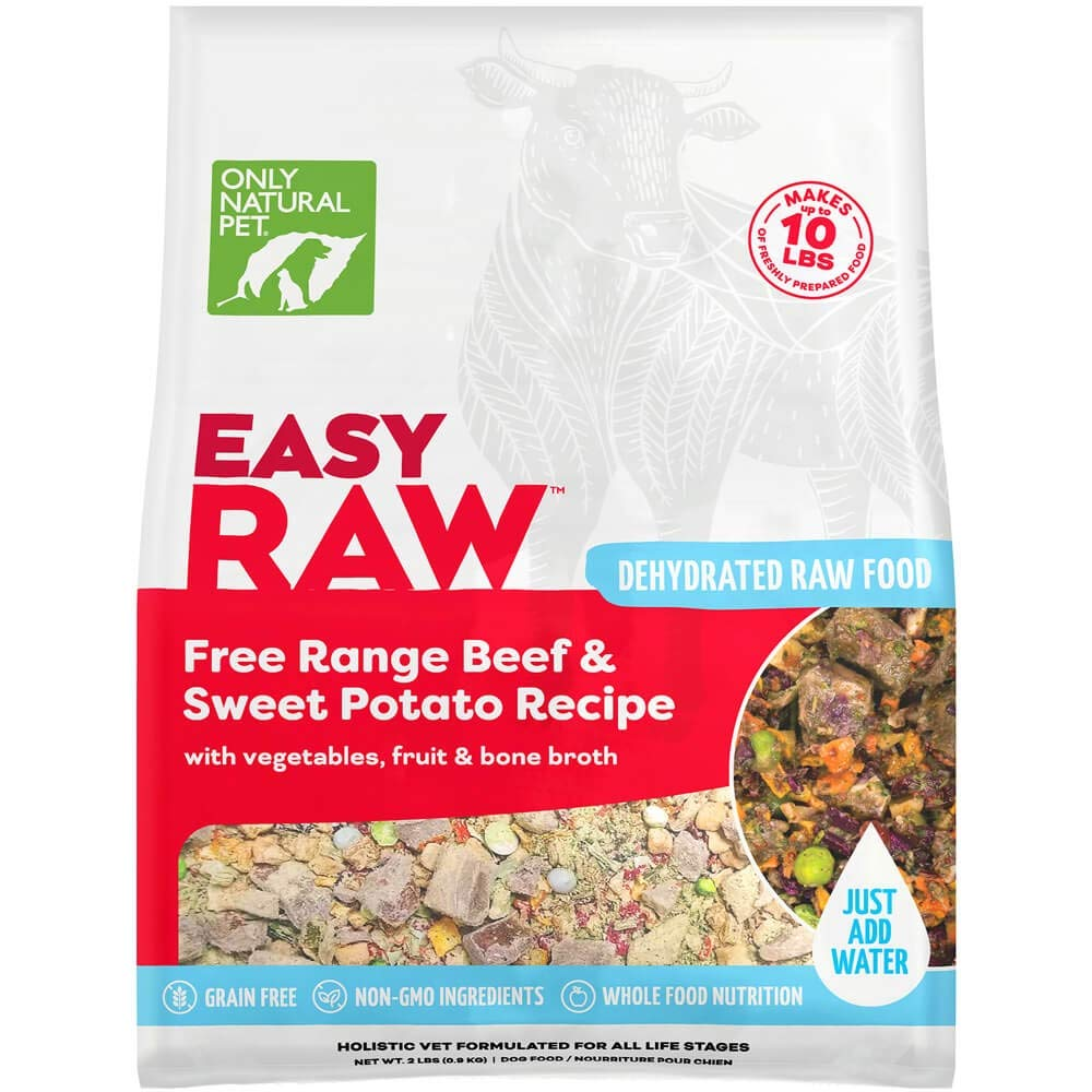 Only Natural Pet EasyRaw Human Grade Dehydrated Raw Dog Food Formula That Contains Real Wholesome Nutrition, Low Glycemic, Paleo Friendly, Non-GMO - Beef & Sweet Potato Flavor - 2 lb Bag (Makes 12 lbs) by Only Natural Pet