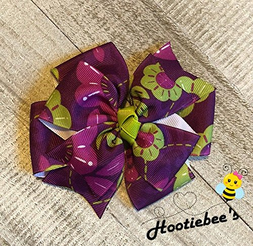 Purple Plum and Lime Floral Pinwheel Hair Bow ()