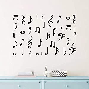 Music Wall Decal Quote Musical Note Wall Decals Music Sign Letter Wall Stickers Quote Removable Vinyl for Kid Baby Nursery Classroom DIY Decoration Home Decor,Black