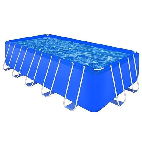 Festnight Schwimmbecken Swimming Pool Schwimmbad mit Stahlrahmen Blau 3 Größe Optional