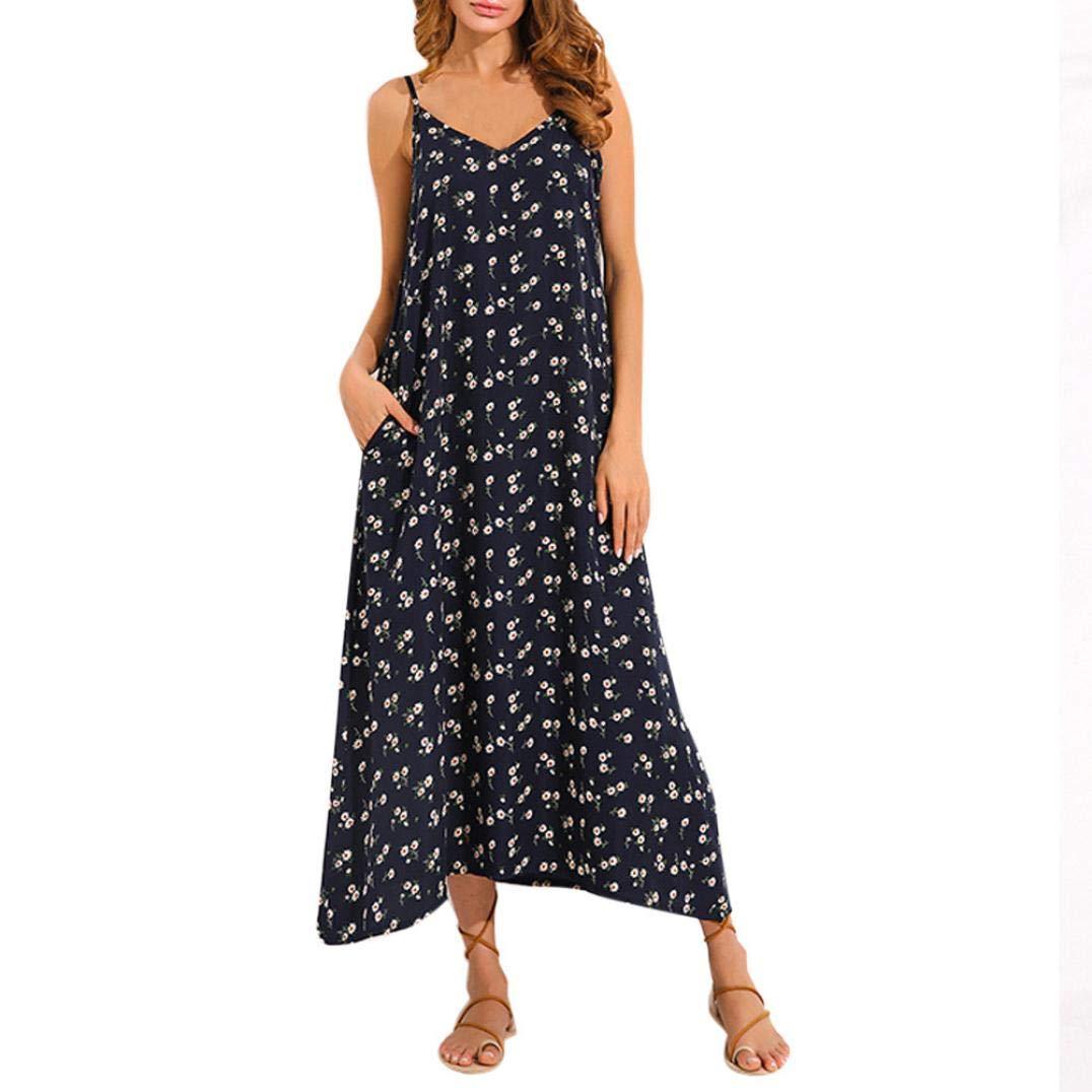 NREALY Falda Womens Summer Strappy Dress V Neck Pocket Casual Loose Maxi Long Beach Dress NREALY-Tank-071901