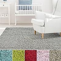 iCustomRug Affordable Shaggy Rug Dixie Cozy & Soft Kids Shag Area Rug Solid Color Grey, For Childrens Play Area, Bedroom or Nursery Carpet 2 Feet x 8 Feet (2 x 8)