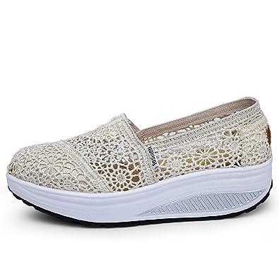 9879744af Mljsh Women s Mesh Slip-On Platform Toning Shoes Beige Crochet Fitness Work  Out Sneaker US