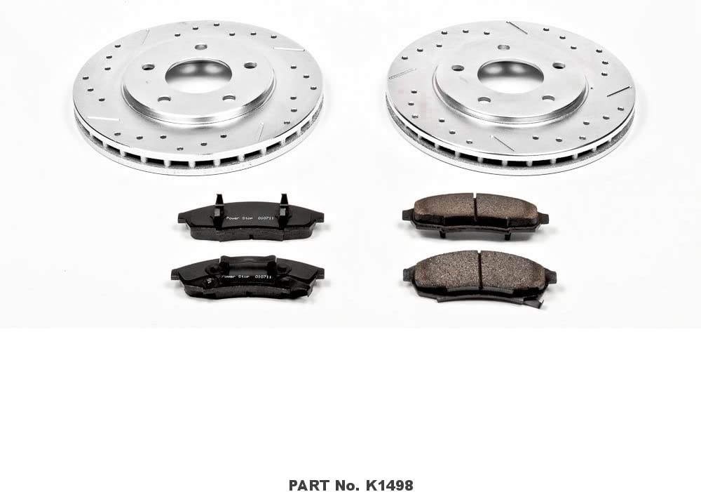 Power Stop K1498 Front Brake Kit with Drilled//Slotted Brake Rotors and Z23 Evolution Ceramic Brake Pads