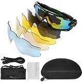 LeaningTech Bike Occhiali da sole Polarizzati Occhiali Anti-UV con Sport 5 Lenti Sostitutive Occhiali per lo Sport in Bicicletta, Guida, Golf e Pesca