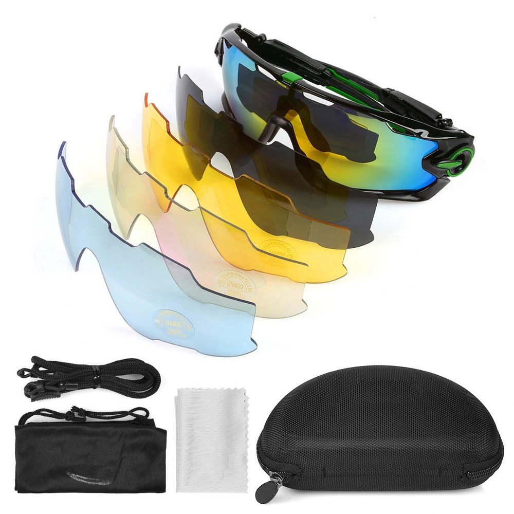 LeaningTech En bicicleta Gafas de sol polarizadas gafas de deporte de gafas 5 lentes de repuesto Gafas de Deportes Ciclismo Esquí Pesca Pesca