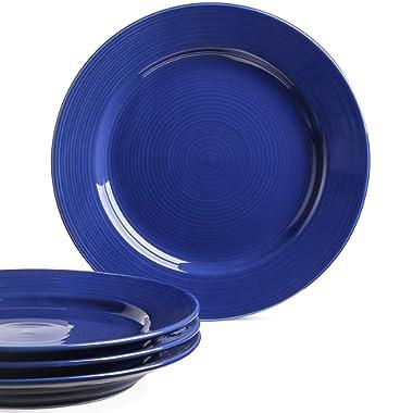 Le Tauci 4 Piece 10 Inch Ceramic Dinner Plate Set, Blue
